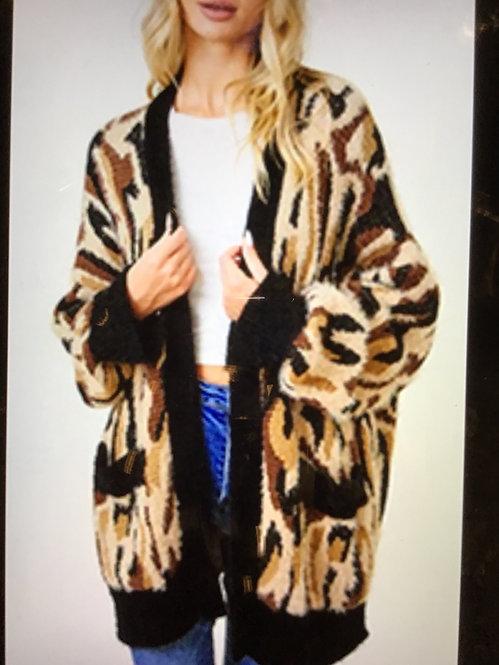 Brown Cardigan with Cheetah Print KB-57 -10012-2001-277PINKL
