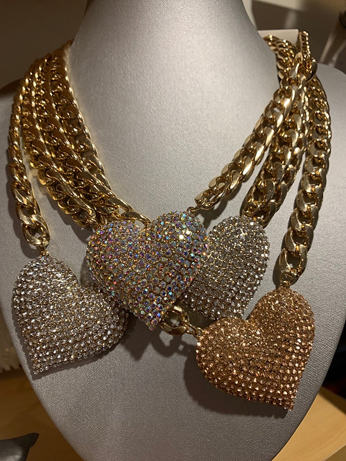 Large bling heart necklace set