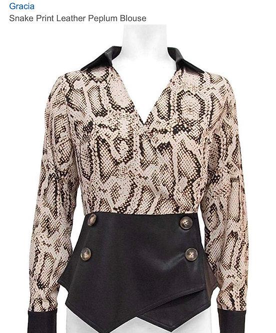 Gracia snake peplum blouse T24785