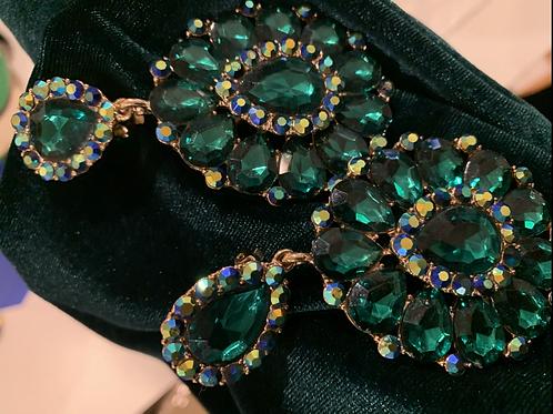 Beautiful large Green bling earrings
