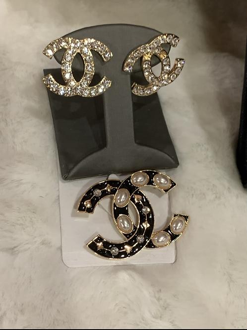Large Bling CC post earrings