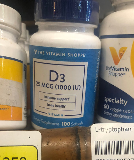Vitamin D3 25mcg (100 Softgels)