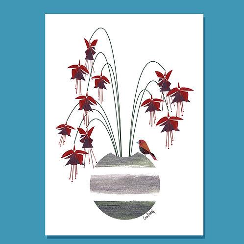 CARDFUCHSIA FLOWER ART CARD