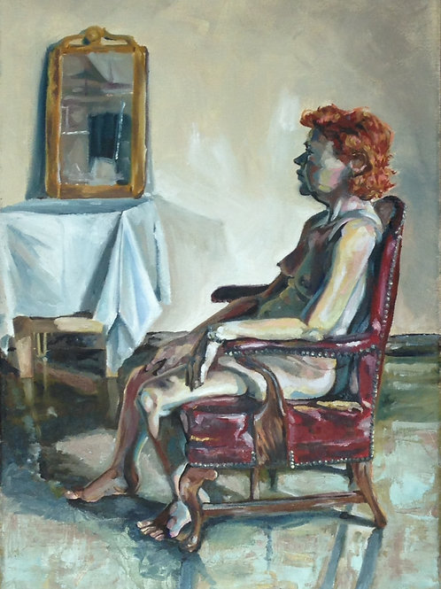 Seated Ginger Nude Painting