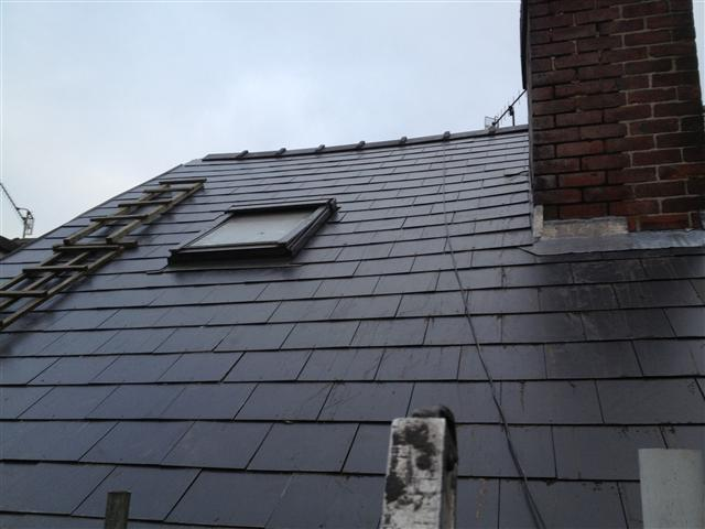 Natural slate re roof