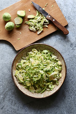 Shredded brussels sprouts on a bowl.Top
