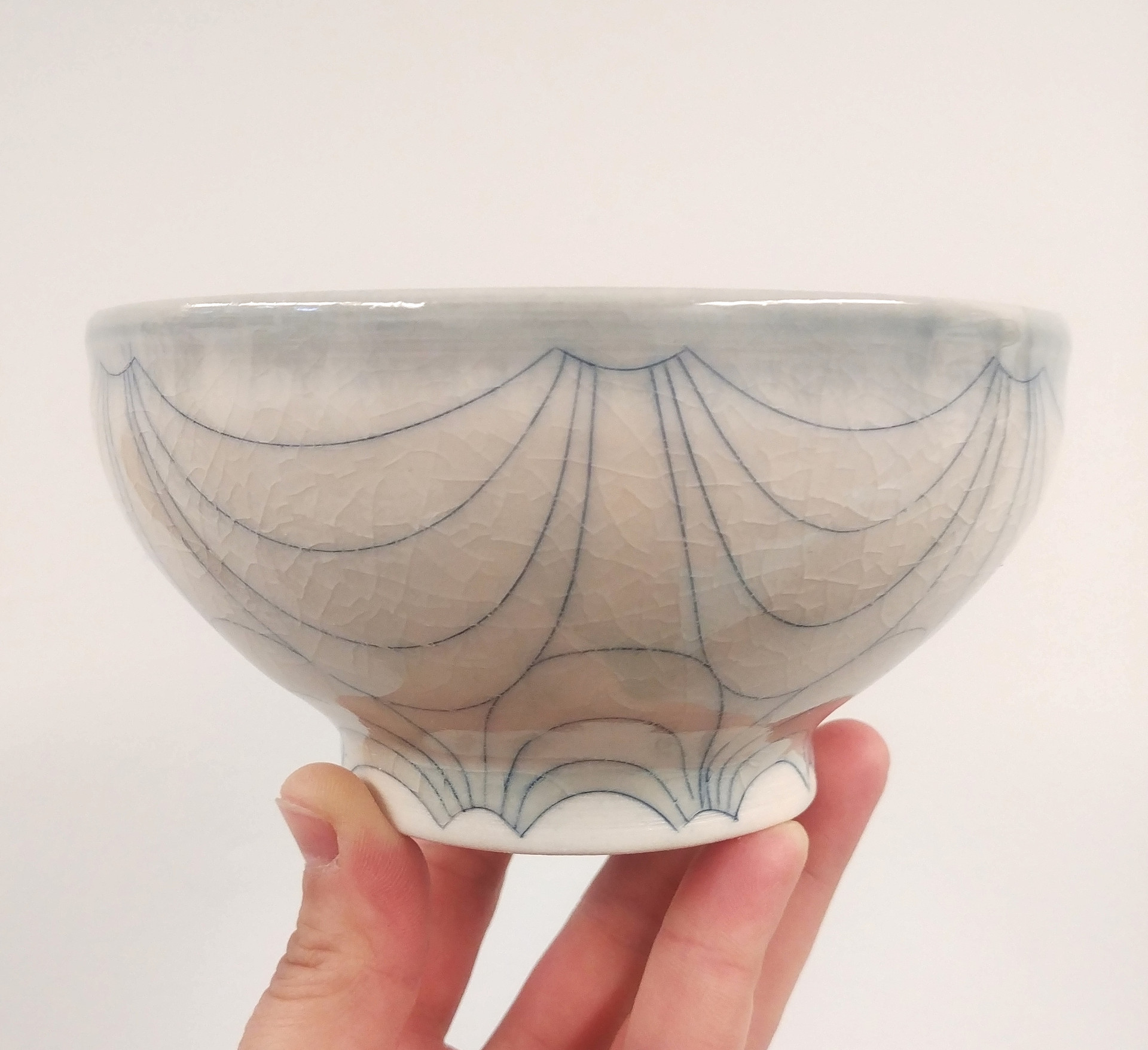 thrown, altered, and incised porcelain bowl