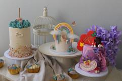 Birthday cakes having a party!