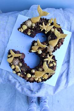 Chocolate Mermaid Number 3 Cake