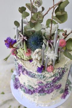 Rustic Floral Birthday Cake