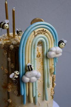 Rainbow cake with bees
