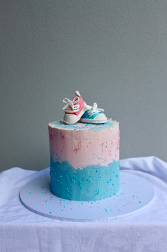 Vegan and gluten free gender reveal cake