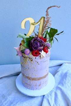 Small 21st Floral Birthday Cake