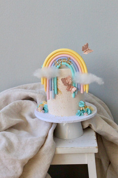 Rainbow cake with butterflies