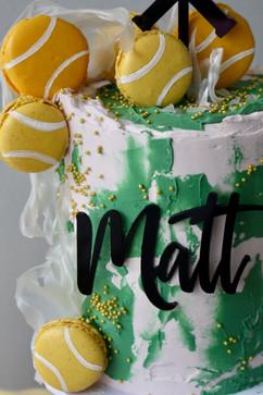 Tennis Cake with macarons