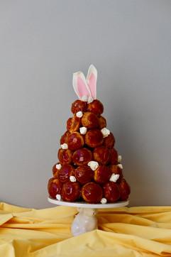 Easter bunny croquembouche cake