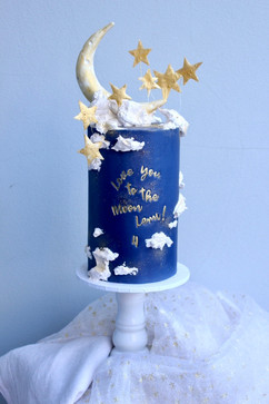 Moon and stars cake with message