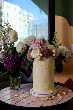 Floral Concrete Finish Cake