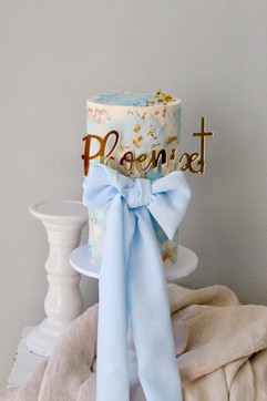 Baptism Cake with bow