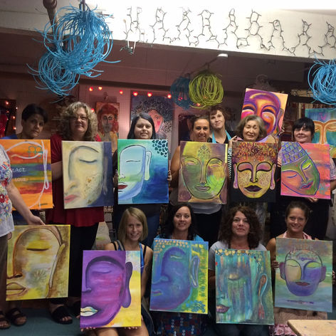 Many Buddas. Many spirits. Wonderful journey at Artful Dreamers Studio. Community of Women.