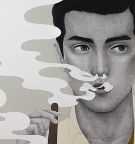 El mito del fuego (Hombre disfrutando un cigarro) - Detalle del rostro