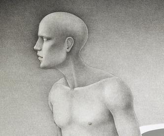El dios que camina a lo lejos (detalle del rostro)