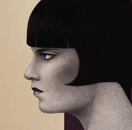 El mito del fuego (Louise Brooks fumando a través de una boquilla) - Detalle del rostro