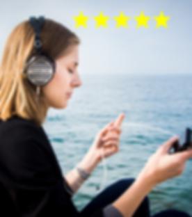 Sunlocal - Woman with 5 Star Headphones.