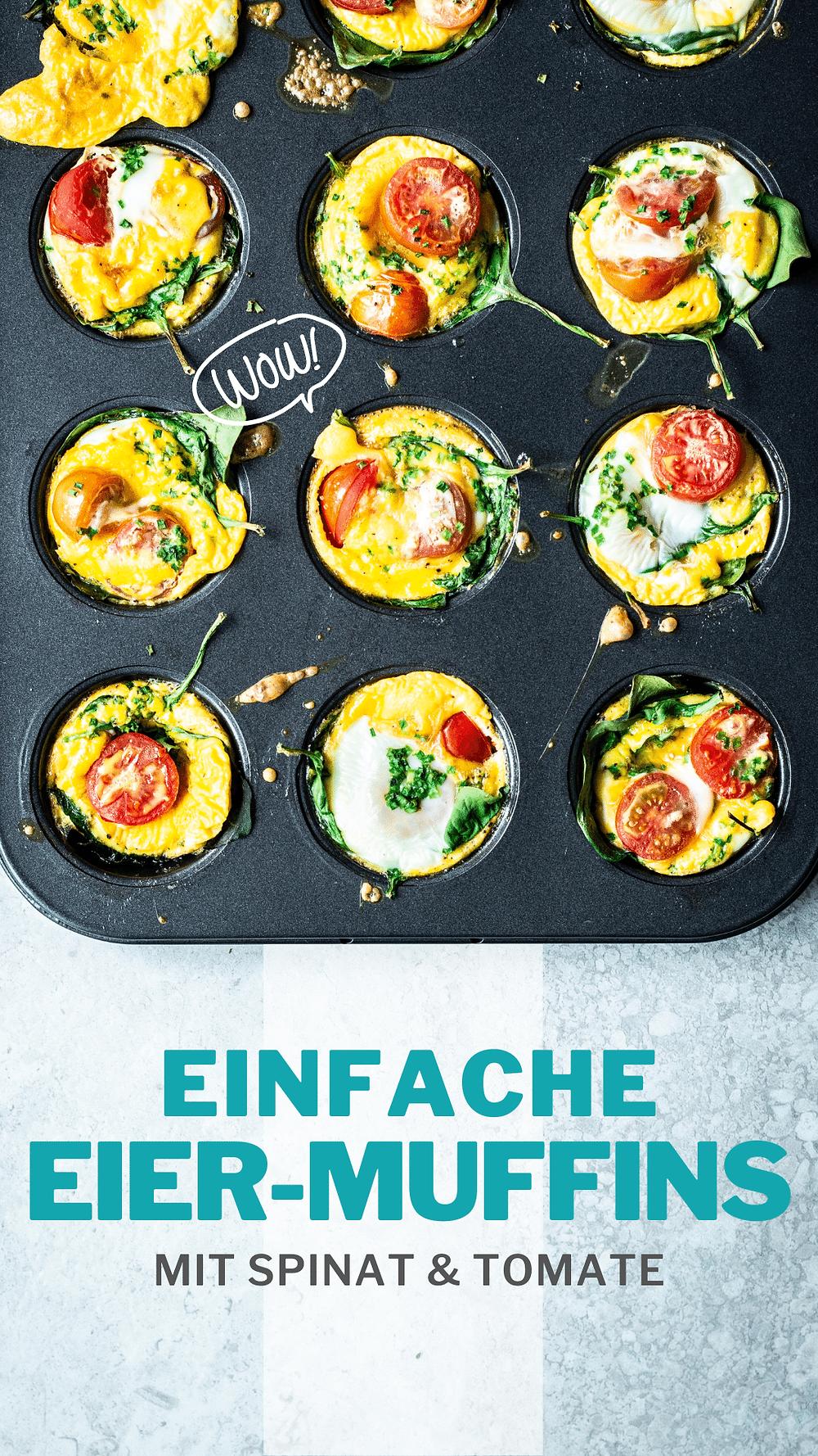Dieses einfache und super schnelle Eierrezept für Eier Muffins aus dem Ofen sind perfekt für deinen Brunch oder Sonntagsfrühstück. Mit Tomaten, Spinat und Schnittlauch schmeckt die Muffins wie das Omelette aus dem Hotel. Nur 4 Zutaten und 15 Minuten Aufwand – besser geht's nicht! MOE'S QUICK & EASY FOOD – #eierrezept #frühstücksidee #osterrezept #brunch #gesund #lowcarb