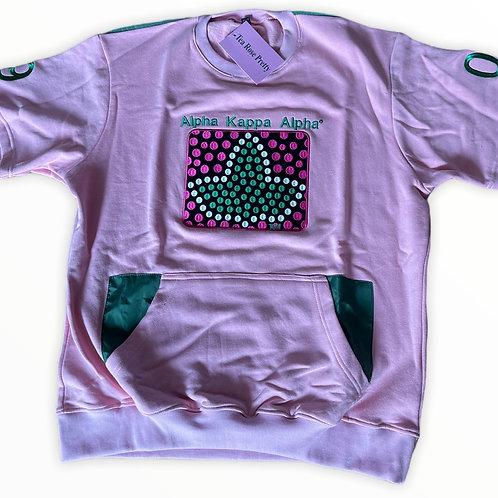Pink Polka Dot Short Sleeve Sweatshirt (Embroidered)