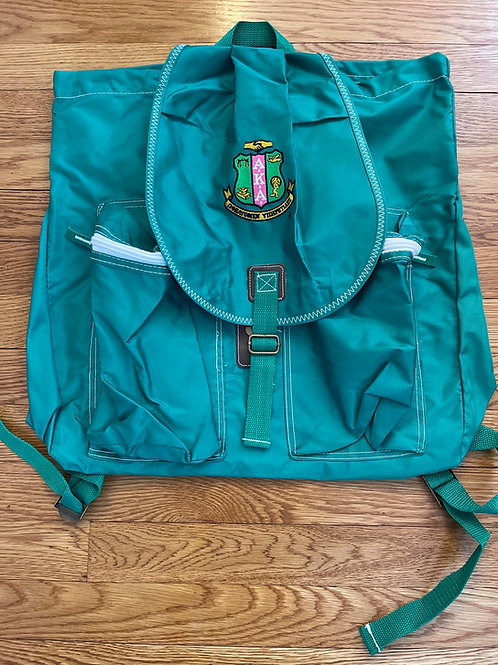 Kelly Green Backpack with Embroidered Shield