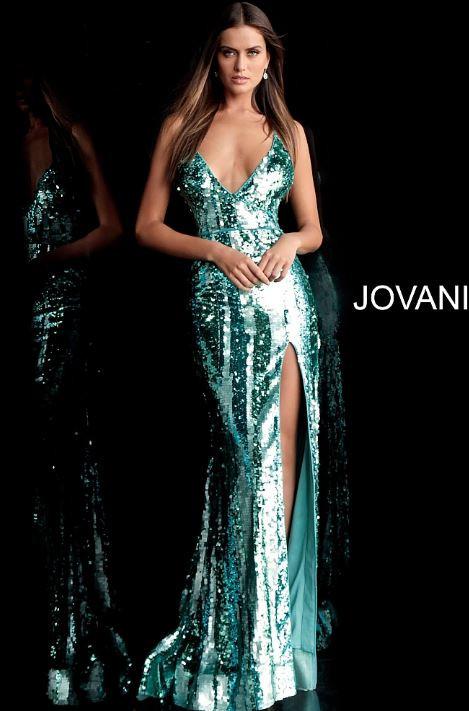 b5c802f6b6 Details  Aqua sequin embellished long prom dress with spaghetti straps