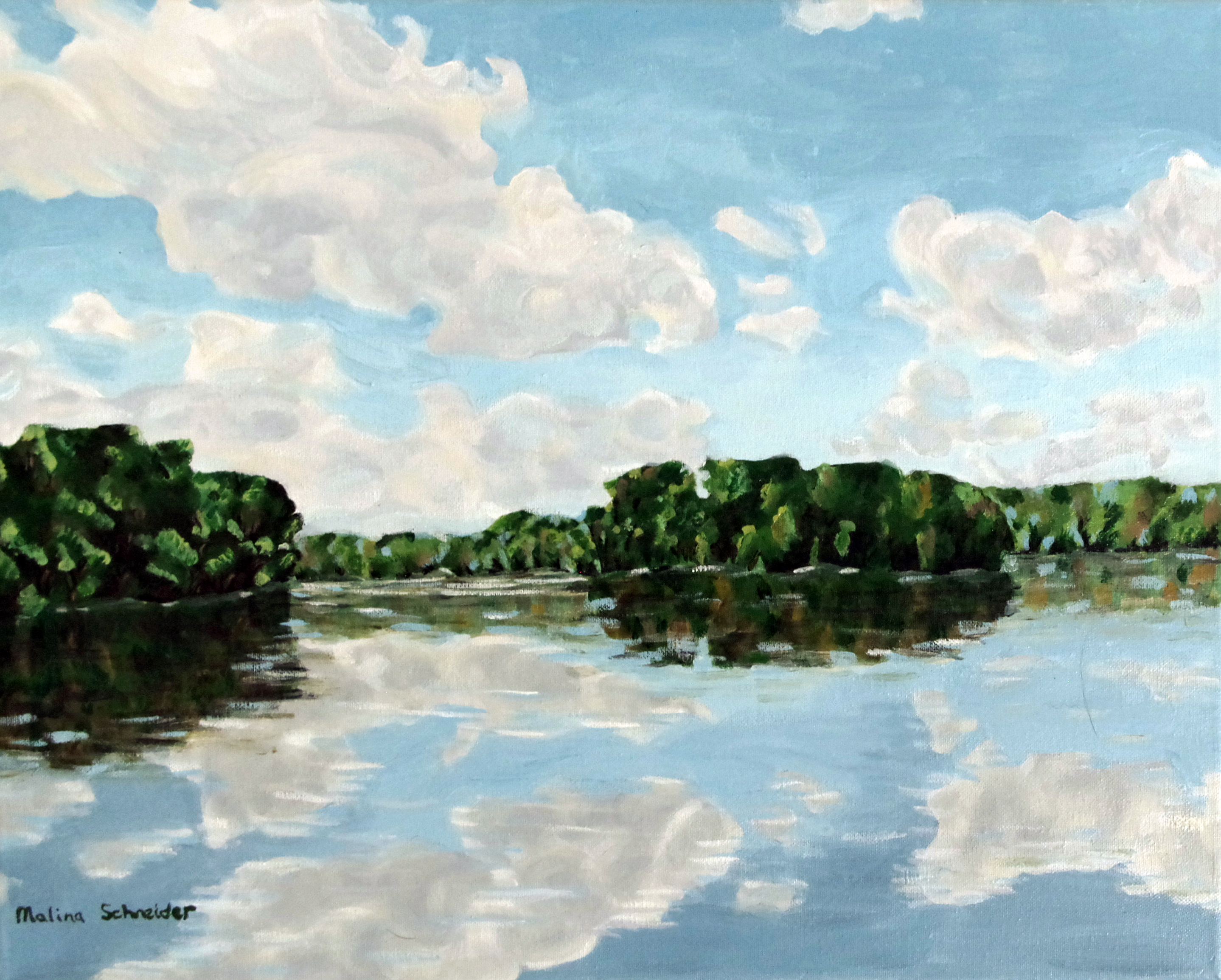 East Lake (study of water and sky) 16x20 acrylic on canvas