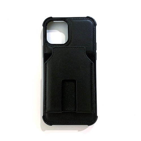 iPhone 12 leather case with card holder - black