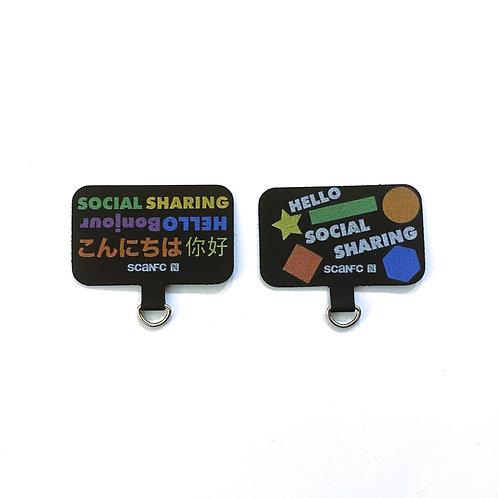 Connected Cell phone lanyard pad (social sharing)