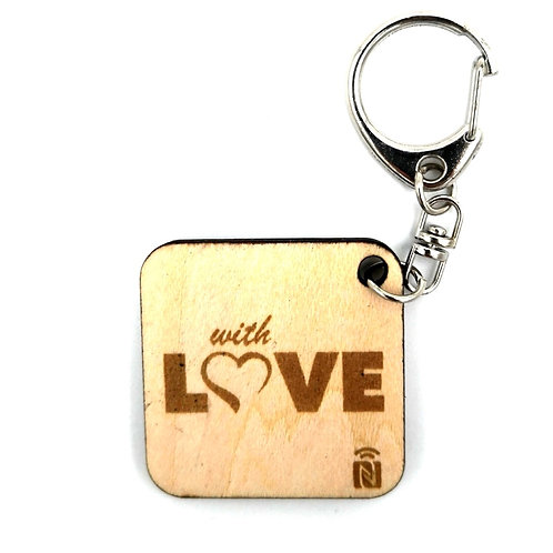 Wooden keychain with Love