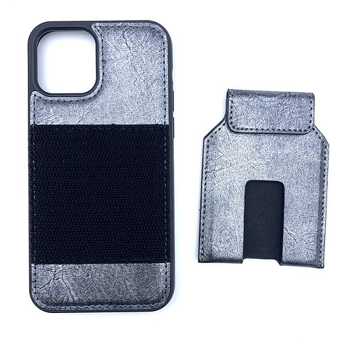 iPhone 12 /12 Pro case with NFC card holder set (Silver)
