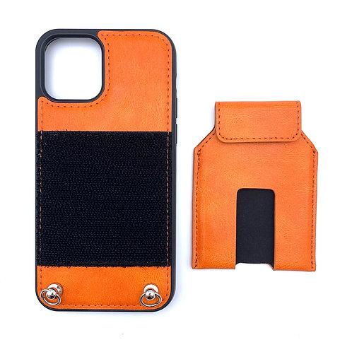 iPhone 12 /12 Pro case with NFC card holder set (orange )