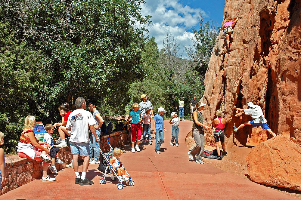 A busy summer day at the Garden of the Gods.