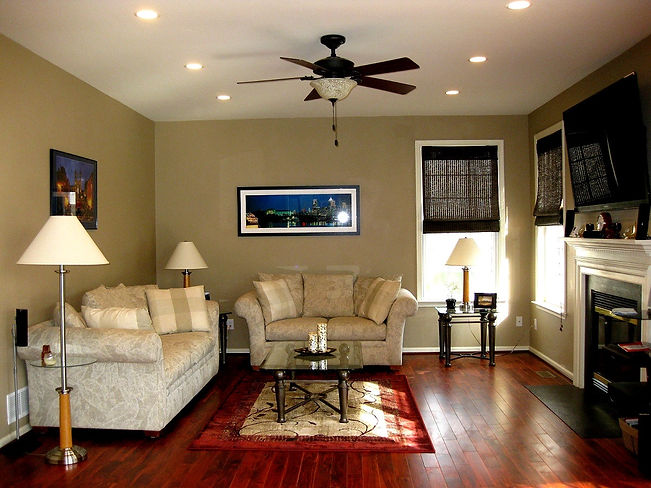 Complted Phot of Recessed Lights & Ceiling Fan with Light