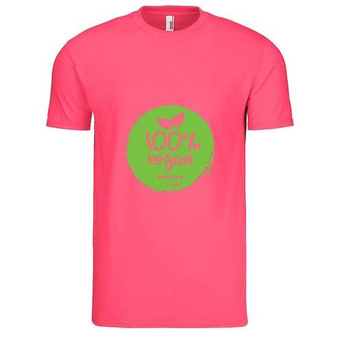 100% Vegan  Men's T-Shirt-Hot Pink