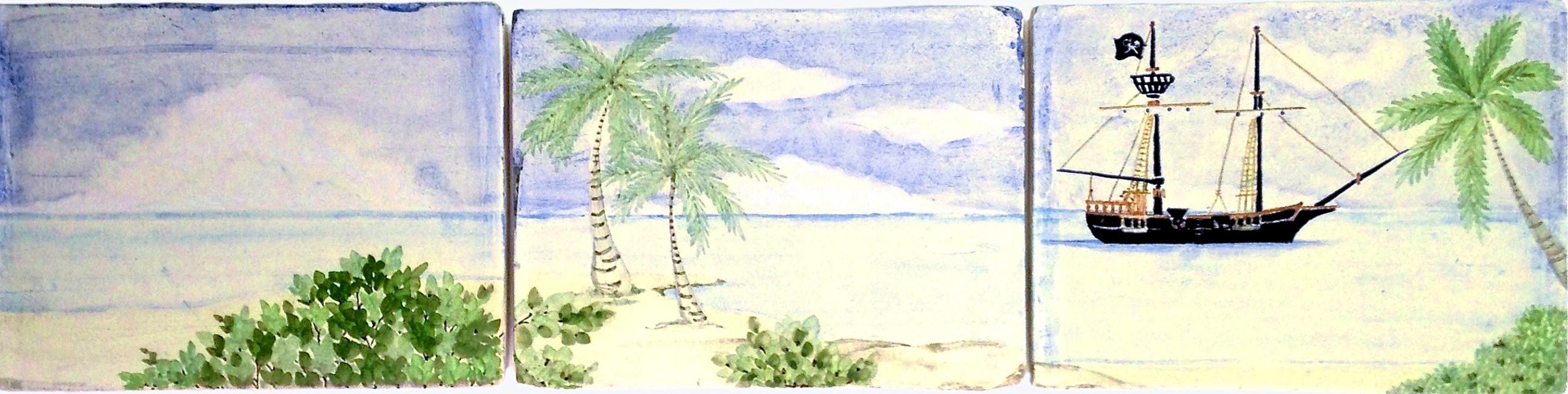 BATH SINK SURROUND, 3 of 12 tiles , Virgin Islands