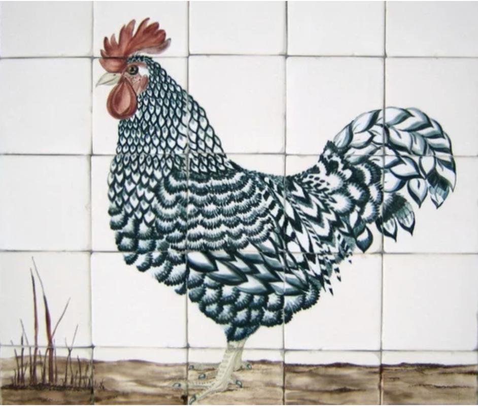 Maran Rooster custom kitchen backsplash