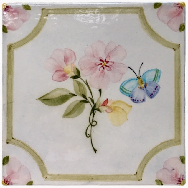 Paris Wallpaper with floral and butterfly insert