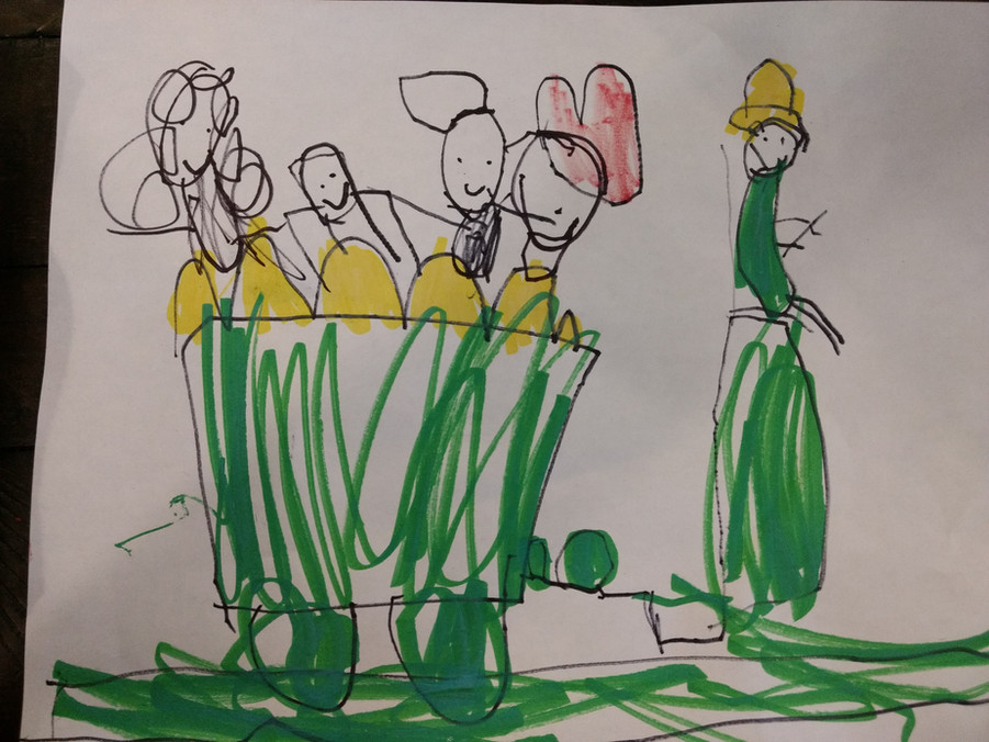 Child's drawing of several people in a vehicle with wheels, with one person standing in front