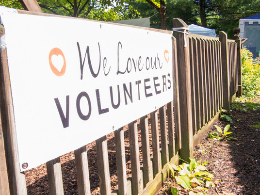 Sideways shot of wooden fence, outdoors, with banner reading We love our volunteers