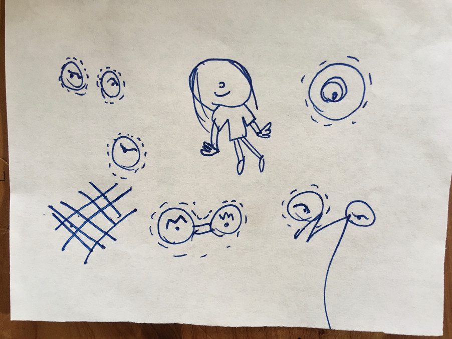 Child's drawing in pen of a person with no eyes and surrounded by different types of eyes