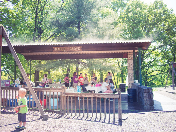 Adults and children in a picnic shelter, sign reads Maple Grove, toddler in foreground eats Cheetos