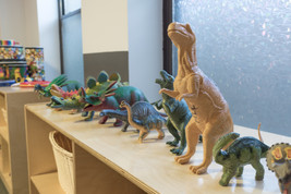 PTLL interior, dinosaur figures on shelf