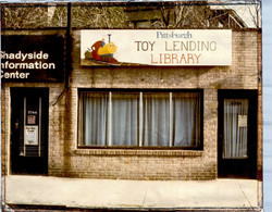 Exterior shot of the toy library's original location, next to Shadyside Information Center